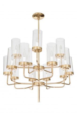 Brass and Glass Two Tier Chandelier