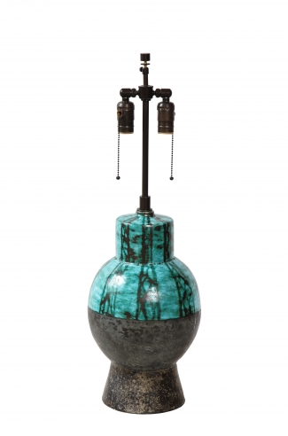Tall lamp in turquoise with black abstract design