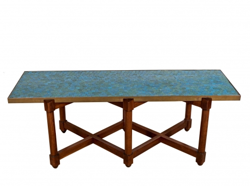 Edward Wormley for Dunbar Blue Glass Mosaic Topped Table