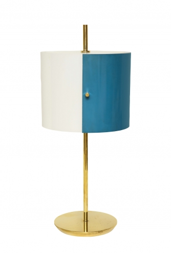 Petite table lamp with blue and white shade by Stilnovo
