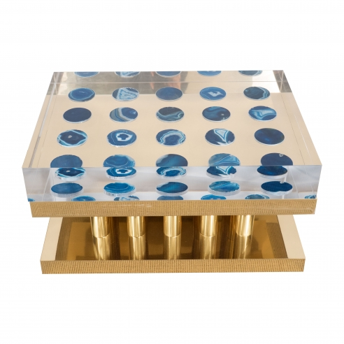 Superego Table with Blue Agates Brass Base and Lucite Top