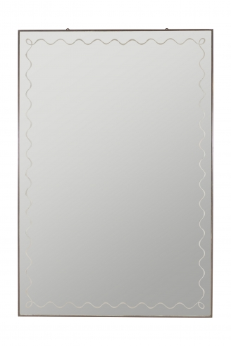 Very Large Brass Framed Mirror with Scrolling Border