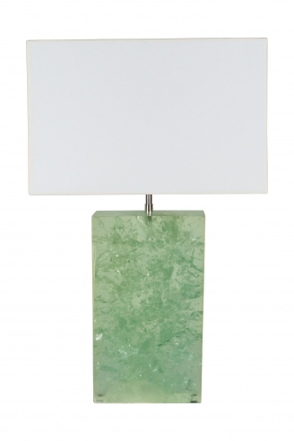 Marie-Claude de Fouquieres Rectangular Green Resin Crackled Table Lamp