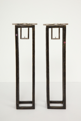 Pair of Caged Candle Holders by Jean Grisoni