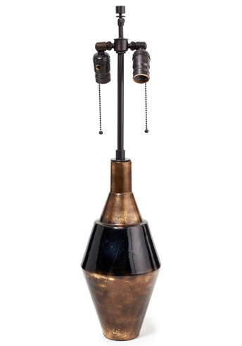 Robert Lallement Black Enamel Earthenware Lamp