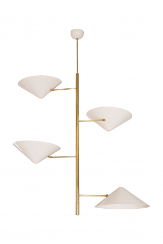 Tole Off White Chandelier with Brass Rod and Four Round Adjustable Shades