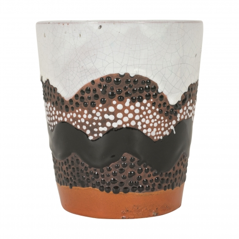 Primavera vase with orange, black and white glaze
