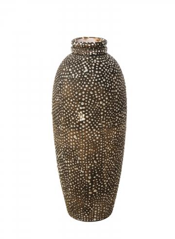 Elongated Primavera vase in matte taupe glaze
