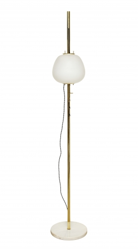 Brass Floor Lamp With Large Frosted Dome by Angelo Lelli