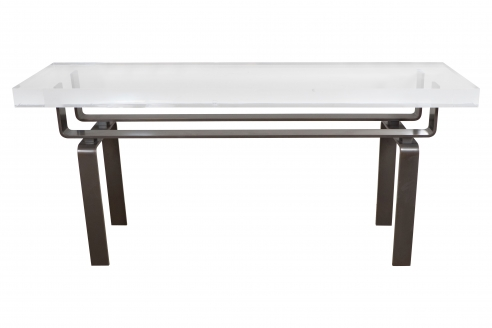 Limited Edition Lucite and Statuary Bronze Custom Designed Console Table