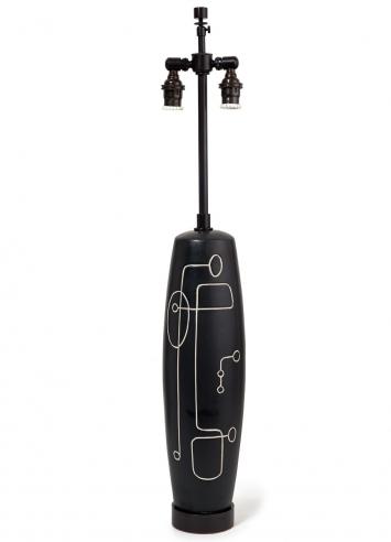 Black Modernist Ceramic Lamp with Design on Front