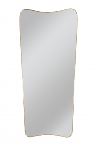 Brass framed mirror in the manner of Gio Ponti's 'Le Bristol' mirror