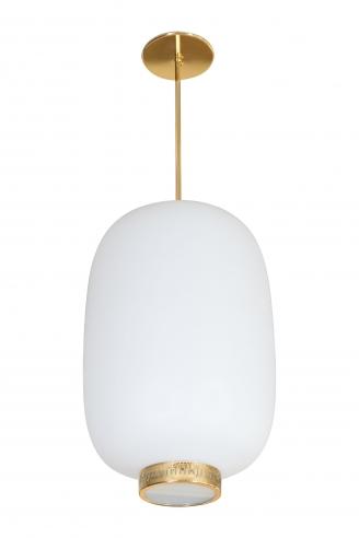 Stilnovo Italian White Glass Lantern Shape Pendant Light