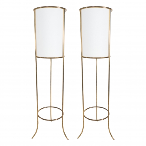 Pair of Brass Floor Lamps by T.H. Robsjohn-Gibbings for Hansen