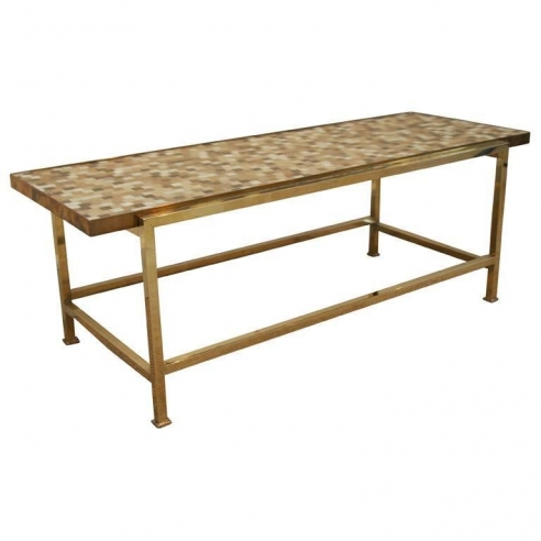 Low Table In Cream And Gold Tiles by Ed Wormley for Dunbar