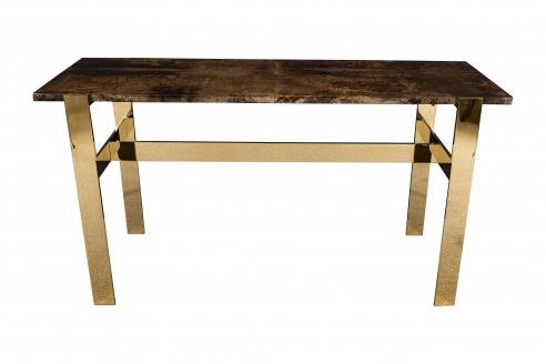 Aldo Tura console table with contemporary mirror polished bronze base
