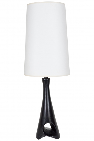 Roger Capron Black Sculptural Ceramic Table Lamp