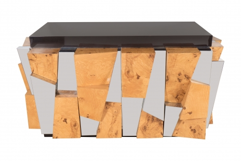 Burled Wood and Chrome Multi-Faceted Cabinet by Paul Evans