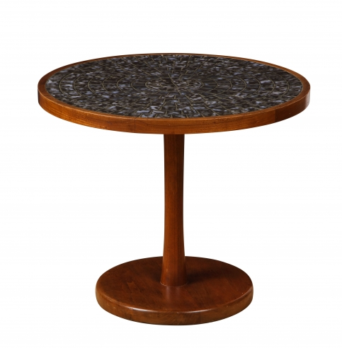 Round side table with exceptional ceramic top by Martz