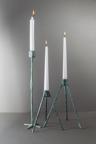 Jean Grisoni Pair of Bronze 'Nonza' and Single 'Olmeta' Candle Holders
