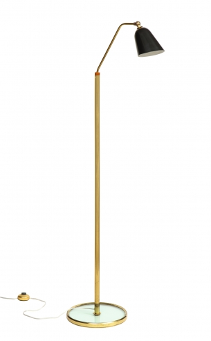 Tall standing lamp with glass base by Fontana Arte