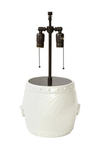 White Ceramic Lamp with Handles by Giovani Patrini