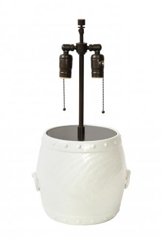 White Ceramic Lamp with Handles by Giovani Patrini