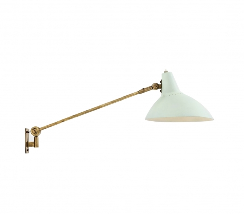Single wall sconce with pastel green shade by Stilnovo