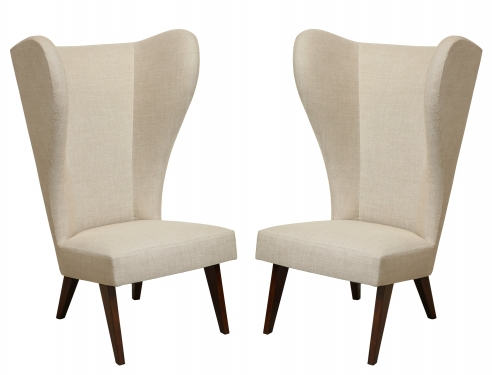 Pair of Exaggerated Wingback Chairs after Ponti
