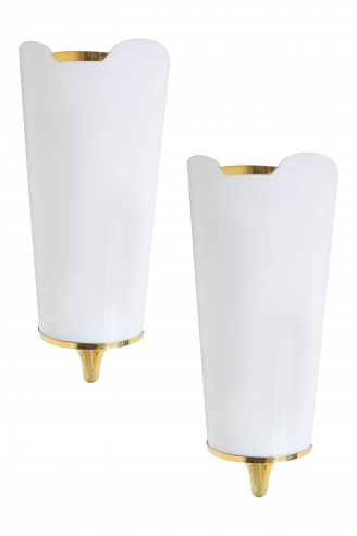 Pair of White Acrylic and Brass Sconces