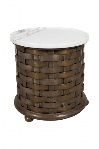 Antique French Brass Woven Base Table with a Contemporary Marble Top