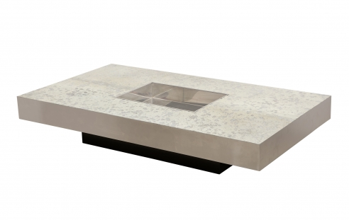 Willy Rizzo Low Table with Silver Leather Top
