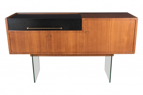 Jacques Dumond (attrib.) Bar Console With Glass Supports