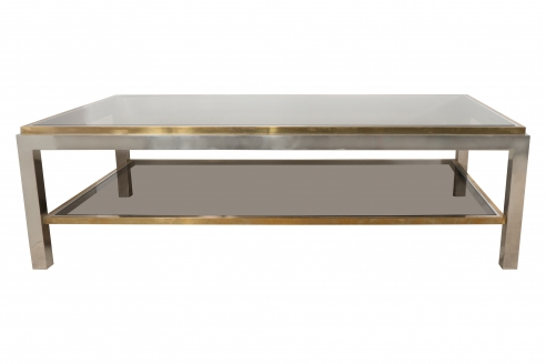 A Willy Rizzo Chrome, Brass and Smoked Glass Coffee Table