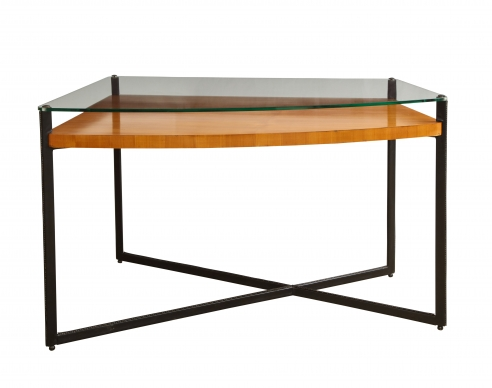 Curved Fruitwood center table with glass top by Adnet