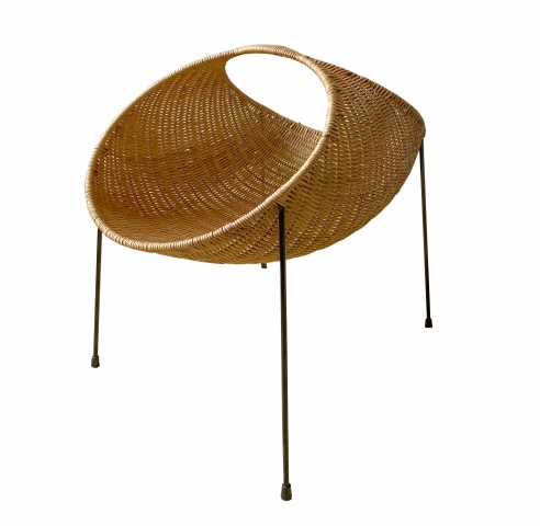 Rattan Magazine Holder by Franco Campo + Carlo Graffi
