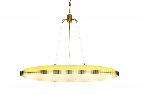 RARE OVAL SUSPENSION LIGHT FIXTURE BY ANGELO LELII FOR ARREDOLUCE