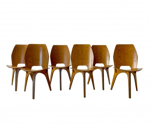 Eugenio Gerli + Osvaldo Borsani set of 6 chairs for Tecno