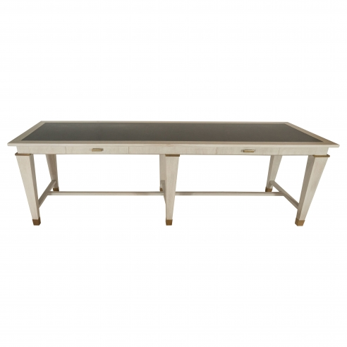 Large Table by Andre Arbus in Cerused Oak w/ Stone Top and Bronze Details