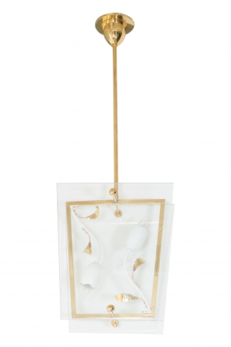 Italian Tole Chandelier with Flower Motif and Two Panes of Glass as Shade