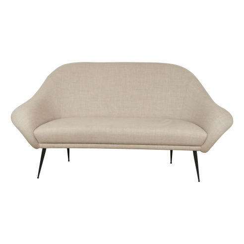Small Italian Settee with Sloping Arms on Metal Legs