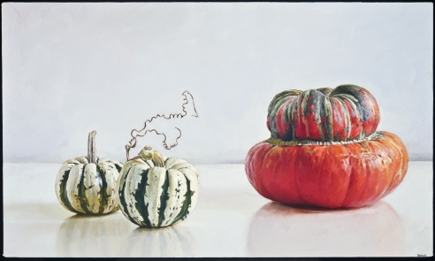 "Image of Peter Poska's ""Turban Squash,"" oil on canvas mounted on board, 16 by 27 inches, painted in 2012."
