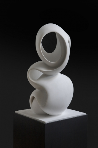 "Image of Elizabeth Turk's ""Script: Column 13"", marble, 21 by 12 by 12 inches, sculpted in 2018."