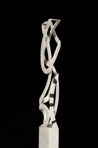 Image of Elizabeth Turk's Black Banded Cage, Box 1, marble, 18 by 3 by 2 inches, sculpted in 2013.