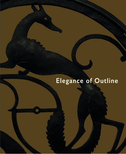 """Cover to e-catalogue for """"Elegance of Outline: Silhouettes by Hunt Diederich,"""" featuring a detail of a wrought-iron window railing from the James Byrne Residence, 270 Park Avenue, New York."""