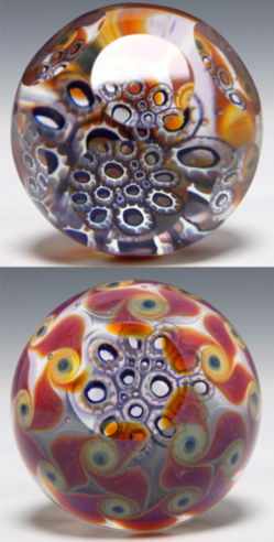 Amber Purple Faceted Murrine Paperweight