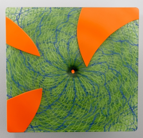 Extroverre Green with Carved Orange Face Wall Piece