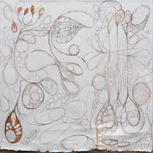 "64"" x 64"" Acrylic, Pencil and Cotton Thread on Canvas"