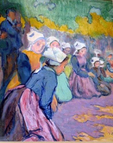 Jean Bertrand Pegot-Ogier Breton Girls at Prayer oil on paper laid on board