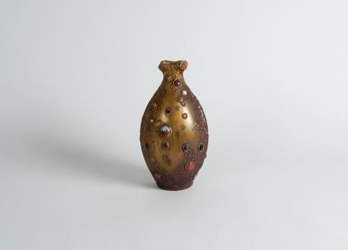 Vase Inlaid with Semi-Precious Stones